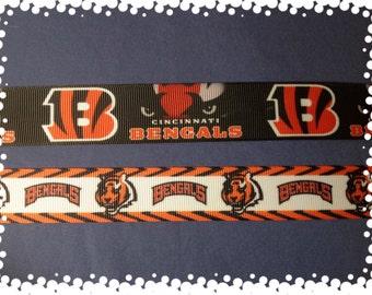 1 Inch Wide Custom Made Adjustable Cincinnati Bengals Grosgrain Dog Collar