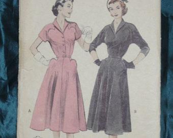 1950s Butterick 6158 Dress, Sz 40 Bust 40