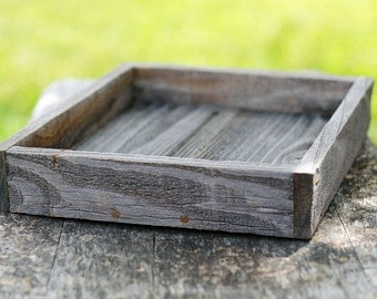 Mini Rustic Farm Serving Tray (Natural Shown), Ottoman Tray, Wooden Tray, Serving Tray, Coffee Table Tray, Cocktail Tray, Farm Tray