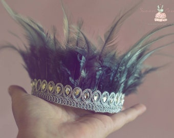 Blue-grey newborn feather crown, feather crown