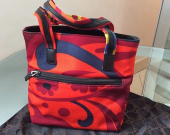 Gucci hand bag in multi-colored fabric