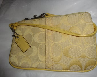 Vintage COACH Yellow Fabric/Canvas with Leather Trim Wristlet/Clutch