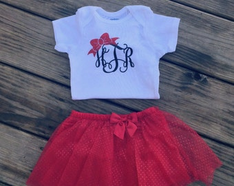 Bow Christmas Custom Monogram Baby Short-Sleeve Onsie / Deeper Waters
