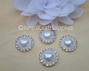 5pcs - 21mm White Flat Back Pearl Rhinestone Buttons, Acrylic Pearl on Silver Plated Metal Base, DIY Supplies