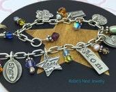 Soulful Inspirations, Mom Bracelet v1, Handmade Fine Silver Charms, Anniversary Bracelet, Holiday Gift, Adjustable Bracelet, Love