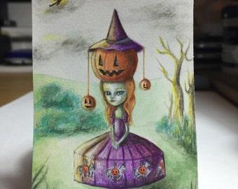 ACEO art card, Giclee fine art print. Halloween themed. Pop surrealism, big eyed, lowbrow, fantasy art and illustration.