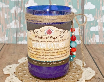 """Powdery Floral Scented Soy Candle, 6 oz Soy Candle in an Upcylced Blue Beer Bottle, """"Dream Catcher"""""""