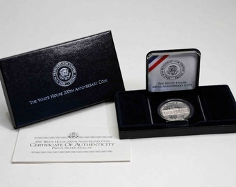 1992 White House 200th Anniversary Proof Silver one dollar U.S. commemorative coin, U.S. Mint, United States coin