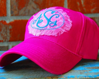 Monogrammed Ball Cap-Hot Pink-Monogrammed Hat-Beach Hat-Baseball Cap-Monogrammed Baseball Cap-Cap with Patch-Monogrammed Patch-Polka Dots