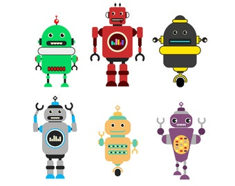 SALE! Robots CLIPART Robot Clip Art Invitations png Images Printable Graphic Invites Cards instant download Images Scrapbooking