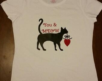 Women's Black Cat T-shirt, Valentines T-shirt Cute!