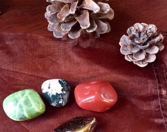 Earth Elemental pocket crystal stone set tumbled