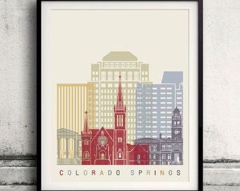 Colorado Springs skyline poster - Fine Art Print Landmarks skyline Poster Gift Illustration Artistic Colorful Landmarks - SKU 2218