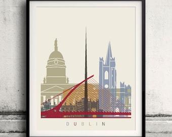 Dublin skyline poster - Fine Art Print Landmarks skyline Poster Gift Illustration Artistic Colorful Landmarks - SKU 1599