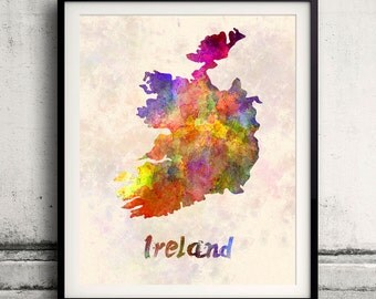 Ireland - Map in watercolor - Fine Art Print Glicee Poster Decor Home Gift Illustration Wall Art Countries Colorful - SKU 1697