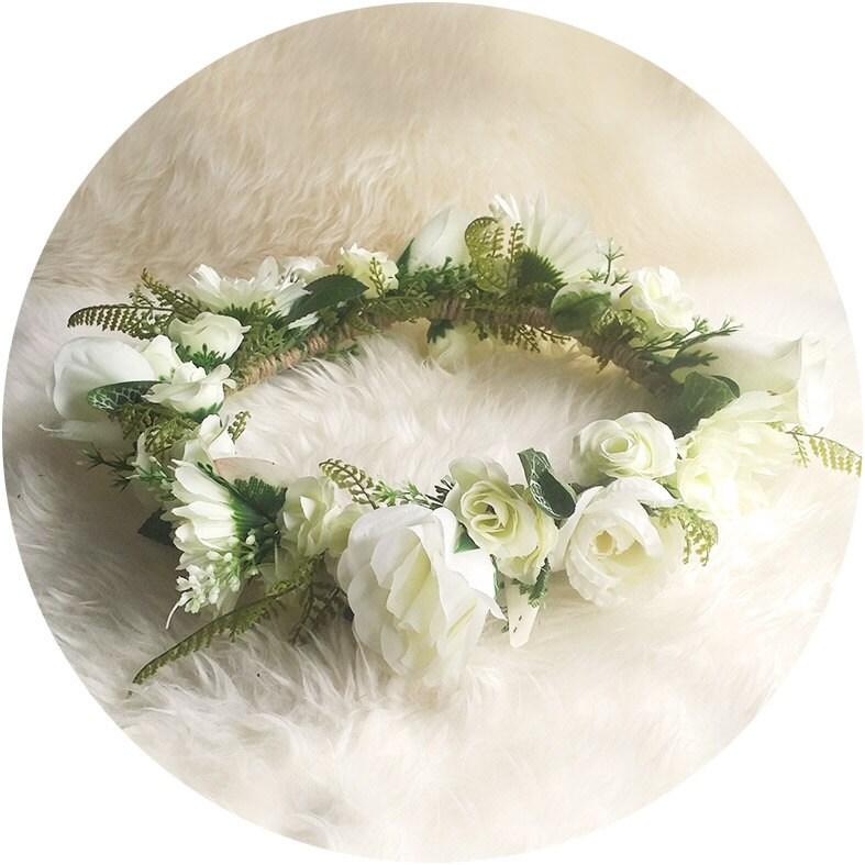 Wedding White Flower Crown: I Love.. White Wedding Flower Crown