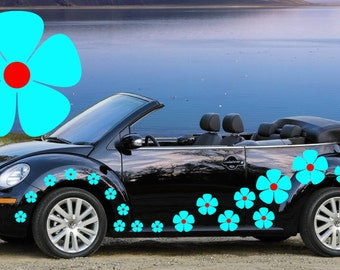 32,blue & red pansy flowers car decals,stickers in three sizes