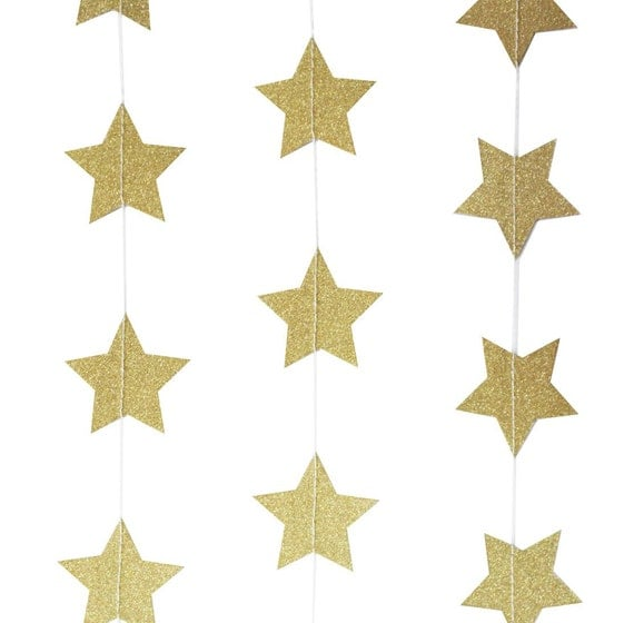 Gold star sparkling garland photo prop wedding