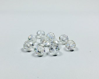 10 Crystal Czech Rondelle Beads, 8x6mm Rondelle Beads, Crystal, Beads, Supplies, Jewelry Supplies, Bead Supplies