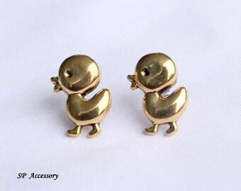 Vintage earrings, golden duckling earrings