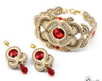 Oriental Soutache Set, Oriental Jewelry Set, Beige Red Soutache Jewelry, Unique Soutache Jewelry, Small Dangle Earrngs, Red Dangle Earrings