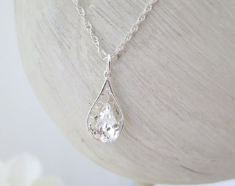Swarovski teardrop filigree necklace, Simple teardrop wedding necklace, Crystal bridal necklace