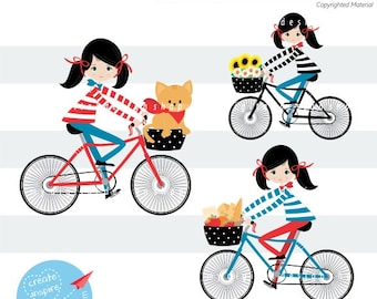 Sweet Ride on a Bike Clipart, Vector EPS, PNG Image, Girl Riding a Bike, Kids Riding Bicycle, French Biking Scrapbooking, Flowers, Cat |C037