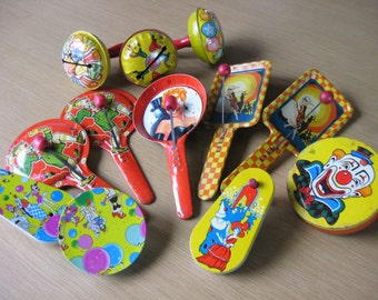 Twelve BELLS, CLAPPERS, CRANKS - Colorful Vintage Metal Noisemakers by U S Metal Toy | Kirchhof | T.Com - for your next Celebration!