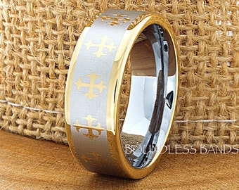 Tungsten Wedding Ring Yellow Gold Plated 8mm Cross Tungsten Wedding Band Anniversary Ring Mens Promise Ring Comfort Fit FREE Laser Engraving