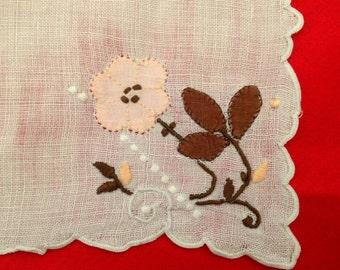 Vintage Pale Pink Linen Handkerchief - pink brown flowers appliqué