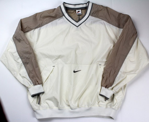 vtg 90er jahre nike regen pullover beige weiss herren xl. Black Bedroom Furniture Sets. Home Design Ideas
