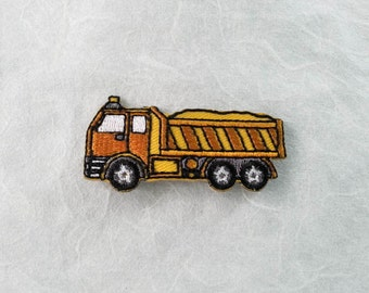 Dump Truck Iron on patch (S) 5.3 x 2.6 cm - Dump Truck Applique Embroidered Iron on Patch # 4