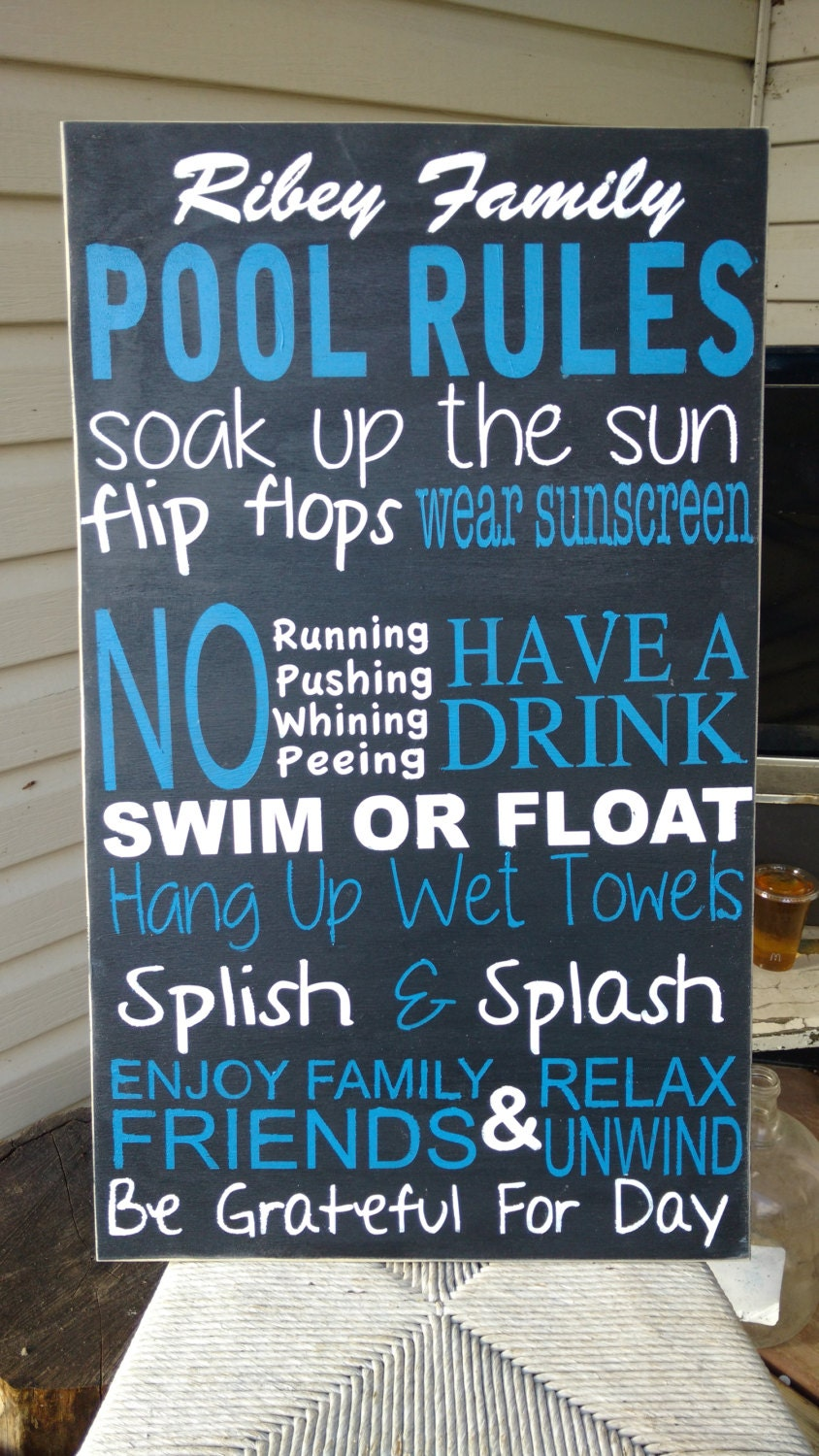 Pool Sign Large Pool Rules Wooden Wall Art Hand By