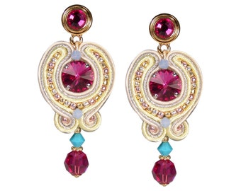 Earring Soutache in Fuchsia and yellow