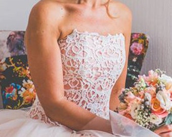 Cotton lace corset, pink with ivory, wedding.