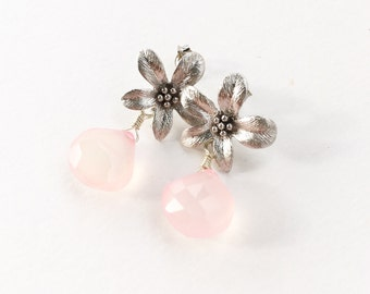 Silver Flower Post Earrings, Candy Floss Pink Chalcedony Earrings, Botanical Jewerly, Spring Earrings