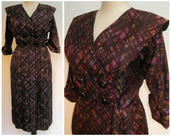 Vintage 50s dress, vintage wiggle dress, 50s day dress, abstract print, acetate day dress