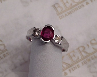 Vintage 14k white gold ring Oval Ruby and 2 Diamond, Semi-Bezel set, .87 tw Size 7.5