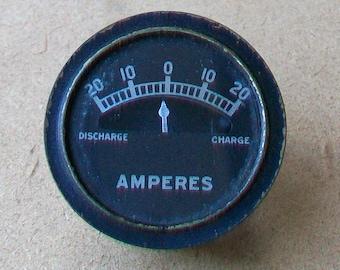 Vintage Automobile Amperes Gauge