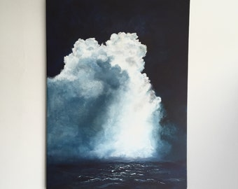 Sea Scape Storm, Original acrylic painting on canvas.