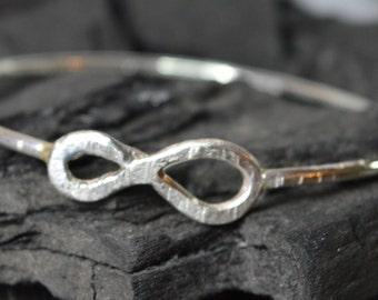sterling silver bangle, infinity bracelet, rustic silver bangle, stacking bangle, hammered, metalsmith, hand crafted, hand forged, handmade