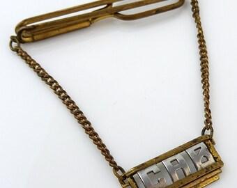 Vintage 1930s Swank Tie Chain Letters CAB Initials Personalized Pendant