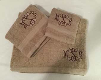 Monogrammed Towel Set, custom embroidery, hand towel, wash cloth, and bath towel included