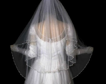2 layer veil with Crystal edge