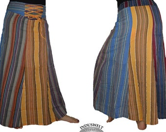 Long Gypsy Patchwork Skirt striped