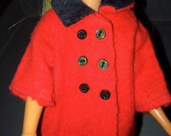 Skipper Coat Skipper Jacket Skipper Doll Red Coat Skipper Winter Skipper Red Barbie's Sister Coat Skipper Dressy Clothes Barbie Family Coat