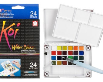Sakura  24-Piece Koi Assorted Water Colors Field Sketch Set with Brush