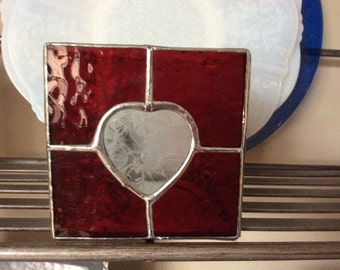 Stained Glass Heart Candle Holder  Votive Holder