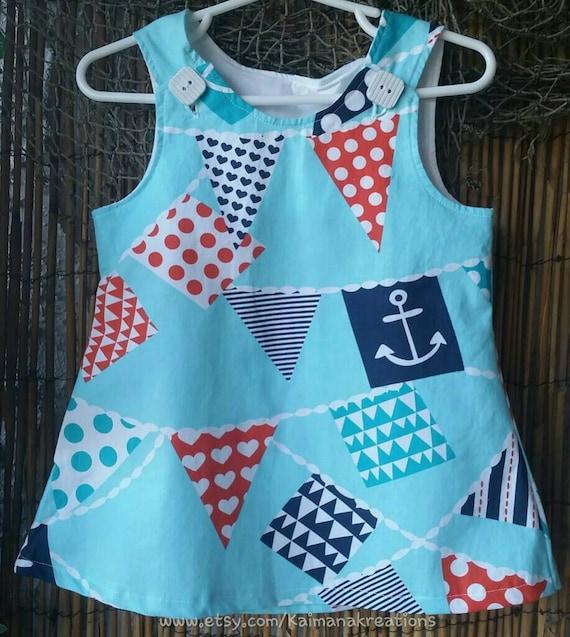 Nautical Ahoy Matey Anchors and flags girls Summer dress