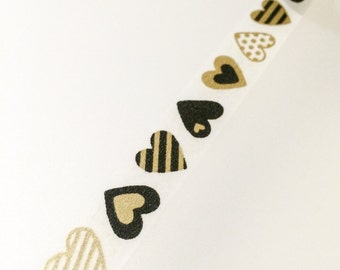Black and Gold Heart Washi Tape